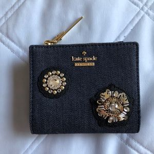 New Kate Spade Wallet w/ Beads and Jewels in Denim